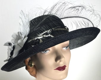 WIDE BRIM Kentucky Derby Hat, Black Women's Summer Straw Hat, Black and White Easter Hat