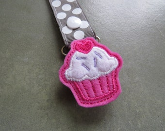 Pacifier Leash Paci Clip - Cupcake Feltie Metal Pacifier Clip