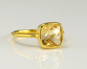 Citrine Ring, November Birthstone Ring, Gold Citrine Ring, Gemstone Ring, Stacking Rings, Citrine Topaz, Citrine Quartz, Gift Idea