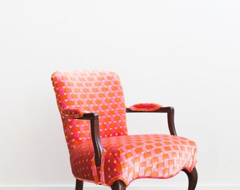 Upholstered Wooden Arm Chair Orange Pink Velvet