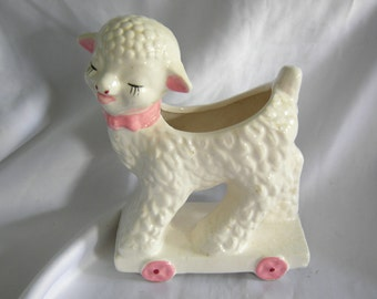 White Lamb Planter Vase   Pink Ribbon Ears and Accents   Vintage