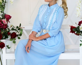 """Summer long delicate dress """"Sky Angel"""" pale blue with light lace, skirt lined"""