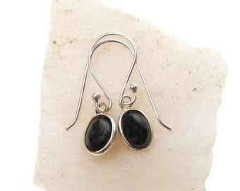 Black Onyx Earrings, Sterling Silver Root Chakra Earrings, Small Black Onyx Gemstone Dangle Earrings, Real Stone Earrings
