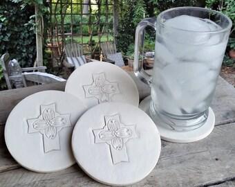 Dogwood Cross Drink Coasters, Absorbent Coasters, Cross, Hostess Gifts, Room Decor, Office, Home Decor