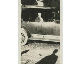 Man in Car; Shadows, c1910s Vintage Snapshot Photo (62451)