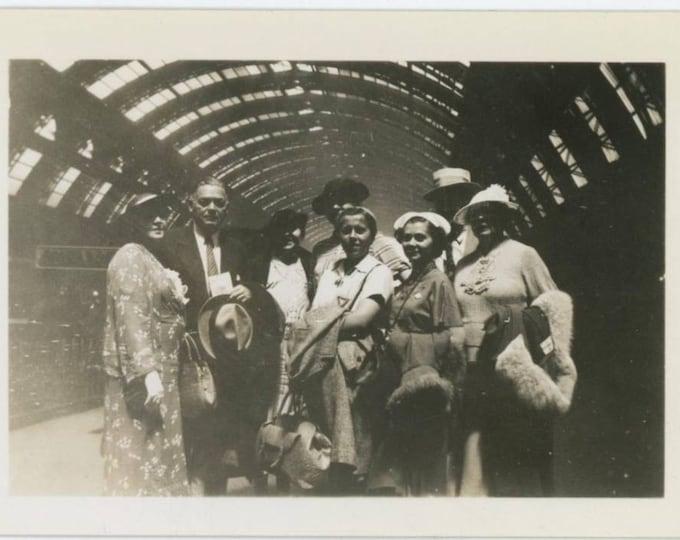 Travelers Pose on Railroad Station Platform, 1930s Vintage Snapshot Photo (511435)