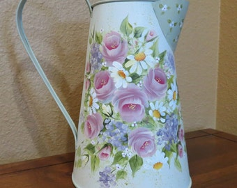 Metalware Pitcher Hand Painted Shabby chic rose decor, Watering can, Centerpiece, Vase, gift original design, signed art work