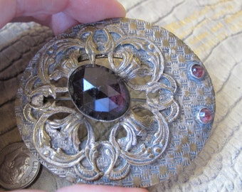 Antique Art Nouveau 1890- 1900 Sash Pin Brooch with Amethyst Rose Cut Glass Stones, Unique Design/ Amethyst Paste Antique Jewelry Brooch Pin