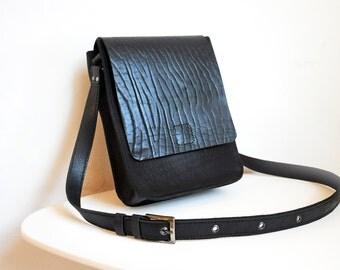 Leather messenger bag, Black crossbody leather bag
