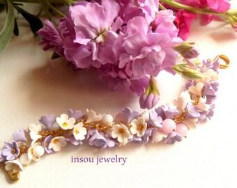 Flower Bracelet, Wedding Bracelet, Handmade Bracelet, Jade Jewelry, Floral Bracelet, Pastel Bracelet, Lilacs, Gift For Her, Floral Fashion