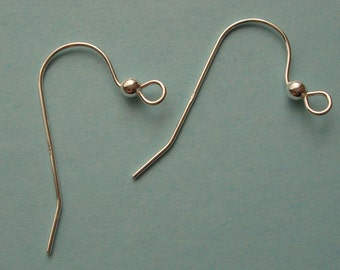 10 Pieces (5 Pairs), French Hook Ear Wire with Ball, Sterling Silver .925, 21mmx24mm, 22 Gauge, SE121