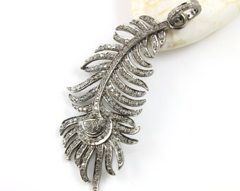 Pave Diamond Pendant, Pave Feather Pendant, Diamond Feather Charm, Pave Feather Necklace, Diamond Feather, Oxidized Silver.(DCH/CR502)