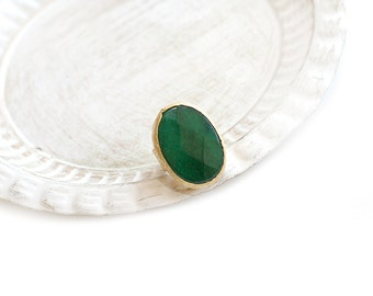 Adjustable Oval Green Jade Stone Gold Plated Ring