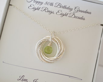 80th Gift for mom and grandma necklace, Peridot birthstone necklace, August jewelry, 8th Anniversary gift, 8 Interlocking rings necklace
