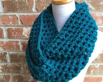 Teal Scarf - Chunky Blue Scarf - Teal Cowl - Teal Knit Scarf - Teal Knit Cowl - Teal Infinity Scarf - Infinity Scarf - Blue Infinity Scarf