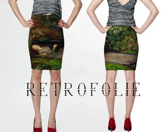 Ophelia-Hamlet Skirt, Art History, Ophelia, Shakespeare, Millais, High Waisted Fitted pencil Skirt, RetroFolie