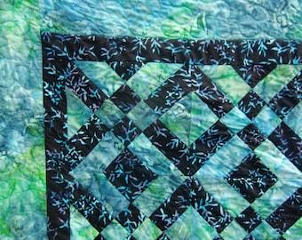 Modern Batik Throw Quilt, Sea Turtles Quilt, Beach House décor, Ocean Inspired Quilt, Gender Neutral, Teal and Black, Dorm Decor, Gift Idea