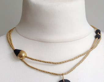 raffia necklace, sandstone and gold leaf