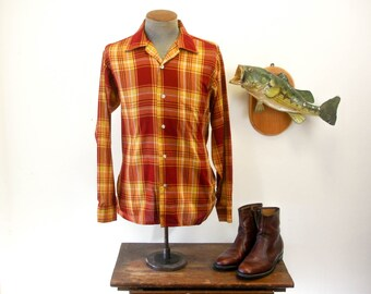 1950s Vintage Mens Shirt Mad Men Era Vintage Plaid Long Sleeve Shirt by BRENT - Size MEDIUM