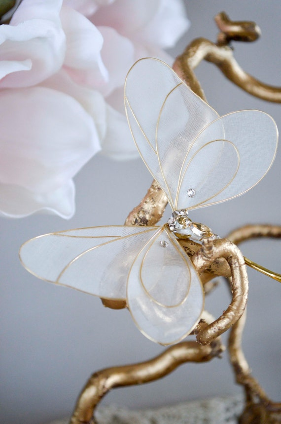 Silk butterfly hair pin, golden hair accessories, bridal hair pin, wedding accessories, flower girl.
