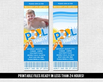POOL PARTY TICKET Invitations Summer Swim Birthday Celebration - (print your own) Personalized Printable Files - Graduation, Bbq, Beach