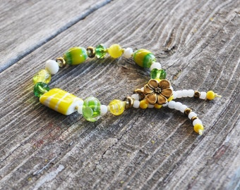 Sophisticated Boho Vintage & Czech Glass Bead Yellow Green Brass Flower Hand Knotted Bracelet