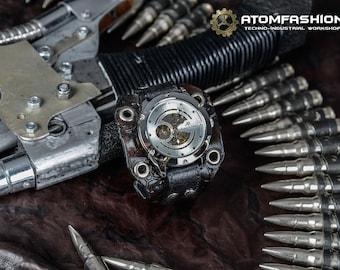 Viva Mechanika steampunk watch for women on black leather wristband