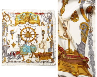 S.A.L.E was 450 now 375 stunning vintage 60s/70s HERMES marine nautical themed Ledoux print silk scarf