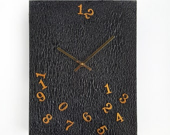 Raining Numbers Minimalistic Black Wall Clock - Acrylic Media and Wood - Gold Hands