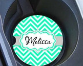 Personalised sweet 16 gift, Monogram car coaster, Unique gift for daughter, Mint and gray, Chevron cup holder coaster for women  (1025)