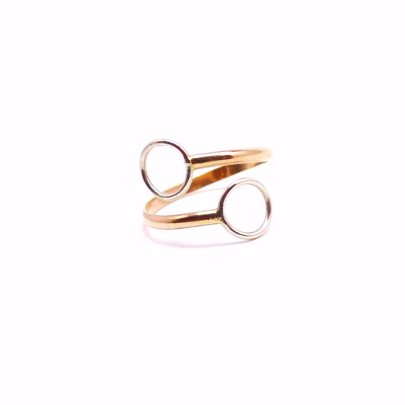 Circle Split Ring - 14k Gold and Silver - Double Circle Ring - Adjustable