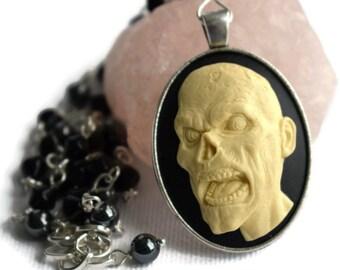 Zombie Necklace, Undead Necklace, Zombie Cameo Necklace, Zombies, Horror Fan Gift Ideas, Goth, Zombie Jewellery, Walking Dead,