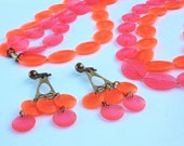 Orange & Pink Necklace and Earrings ~ Vintage Two-Strand Plastic Faceted Oval Bead Flapper Demi Parure Set