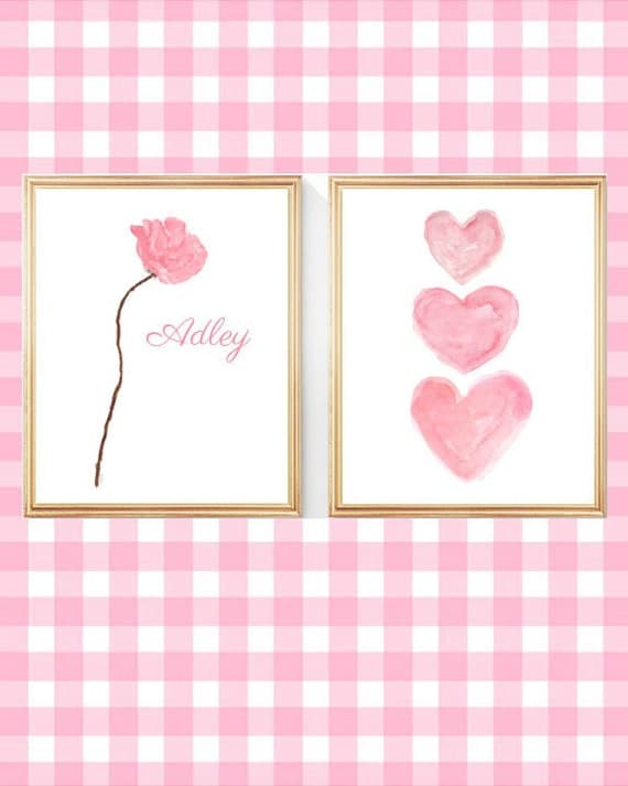 Pink Hearts and Rose Print Set, 5x7, 8x10 Personalized Set of 2