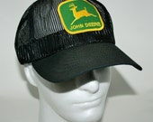 Vintage John Deere Black Mesh Farmer - Trucker Snapback - Hat - Marked Louisville, Kentucky USA