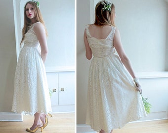 Tea Length WEDDING DRESS Vintage Ivory White Lace Ladies Small Spring Summer 50s Retro Rocks Swing Pleat Skirt SCALLOP Hem Sweep Party Frock