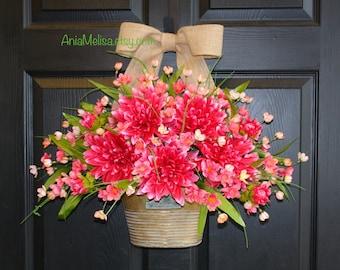 spring wreath summer wreath floral arrangement front door wreaths for door pink front porch wreath front door decorations wall decor
