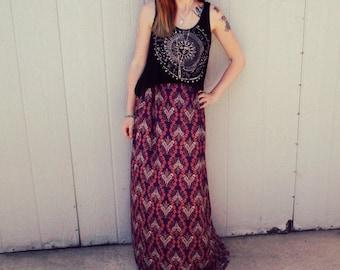 Psychedlic Print Maxi Skirt