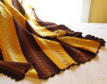 Shell Pattern Afghan Throw - Warm Afghan - Synthetic - Throw With Golds and Browns - Mix and Match