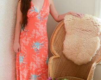 vintage 1970s peachy-pink floral disco maxi dress