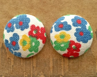 Wholesale Earrings / Fabric Covered Buttons / Handmade Jewelry / Vintage Floral Print / Gifts for Her / Stud Earrings / Primary Colors