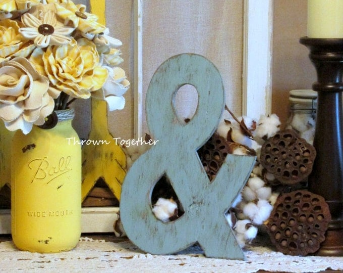 Ampersand Sign, Aqua Wall Decor, Rustic Wood Decor, Handmade 13inch Ampersand, Rustic Wedding Prop, Gallery Wall, Distressed Wood Wall Art