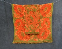 60's Fieldcrest Orange and Olive Green Poppy Floral Bath and Hand Towel