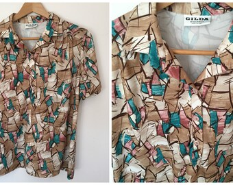 70's Gilda of California Groovy Button Shirt - Women's Size Med-Large
