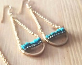 Custom Order for Irma- Arizona Turquoise Hammered Lucky Crescent Earrings// Brass  //  Modern Brass Jewelry