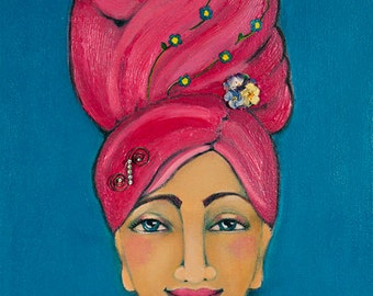 Pink hair piled high, Nice Hair, Limited Edition Print of Original Art,
