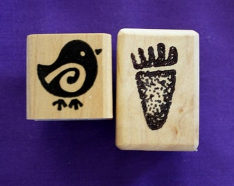Primitive Bird and Foot Rubber Stamps Set of Two Small Stamps