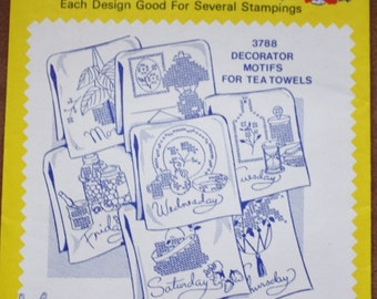 Aunt Martha's Hot Iron Transfers 3788  Days of the Week Tea Towels Vintage Embroidery Pattern Linen Motifs