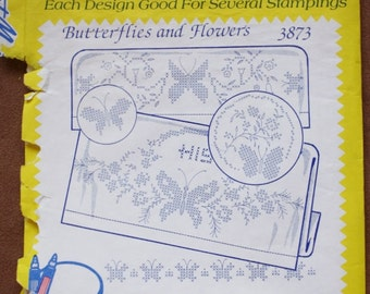 Aunt Martha's Hot Iron Transfers 3873- Butterflies and Flowers- Towels- Vintage Embroidery Pattern - Linen Motifs