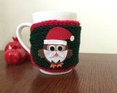 cozy mug sweater knitted owl mug sleeve Christmas gift or for you